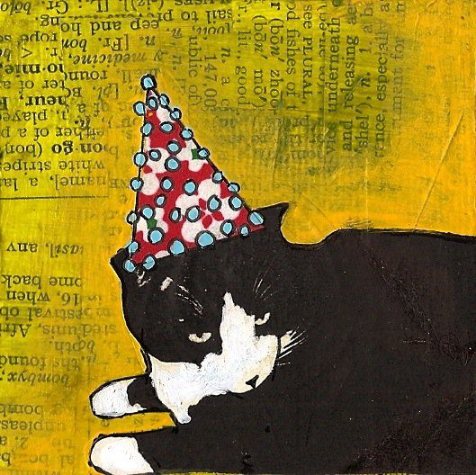 "Eli's Party Hat, 3"" x 3"", photo transfer, origami paper, dictionary, pen, and Acryla gouache on canvas, 2011."