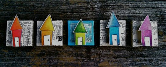 "Assorted tiny houses, 3"" x 3"", Bristol board, colored pencil, pen, and dictionary on canvas, 2012."